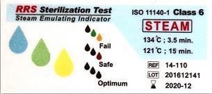 نشانگر شیمیایی بخار تایپ ۶ (۱۱۰-۱۴ RRS) قبل از قرار گرفتن در اتوکلاو بخار