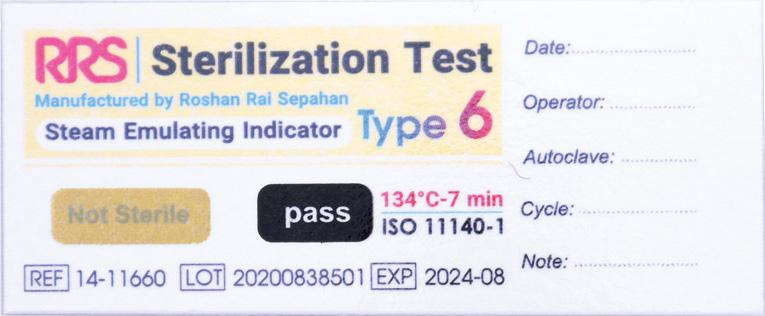 نشانگر شیمیایی بخار تایپ ۶ (۱۱۶6۰-۱۴ RRS) قبل از قرار گرفتن در معرض بخار اتوکلاو