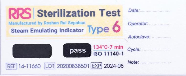 نشانگر شیمیایی بخار تایپ ۶ (۱۱۶6۰-۱۴ RRS) بعد از قرار گرفتن در اتوکلاو و حالت تایید شده
