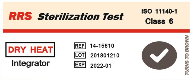 نشانگر شیمیایی حرارت خشک تایپ ۶ (۱۵۶۱۰-۱۴ RRS) بعد از قرار گرفتن در حرات خشک و حالت تایید شده
