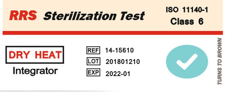 نشانگر شیمیایی حرارت خشک تایپ ۶ (۱۵۶۱۰-۱۴ RRS) قبل از قرار گرفتن در حرات خشک