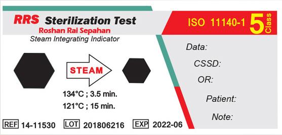 نشانگر شیمیایی بخار تایپ ۵ (۱۱۵۳۰-۱۴ RRS) بعد از قرار گرفتن در اتوکلاو بخار
