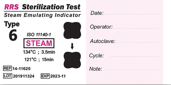نشانگر شیمیایی بخار تایپ ۶ (۱۱۶۲۰-۱۴ RRS) بعد از قرار گرفتن در اتوکلاو بخار
