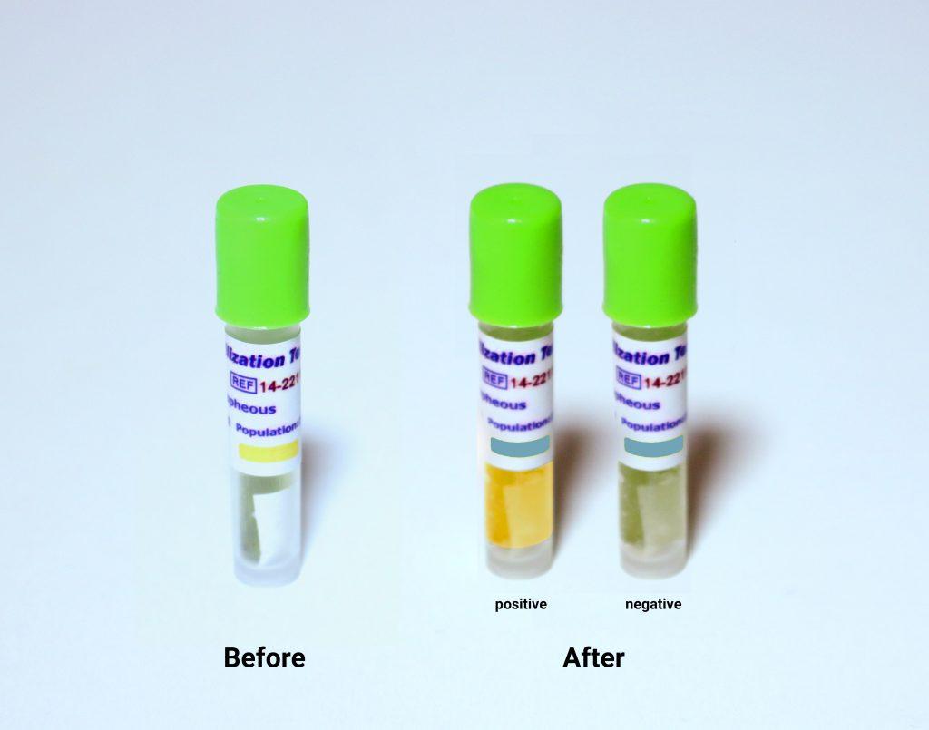 نشانگر بیولوژیک اتیلن اکساید (22110-۱۴ RRS) قبل و بعد از قرار گرفتن در برابر تیلن اکساید و در حالت تایید شده و تایید نشده